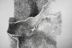 Linien   Fließlinien, 48x64cm 2002
